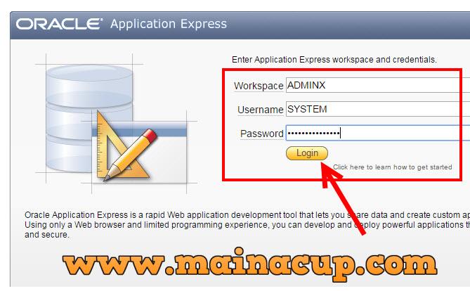 การสร้าง Workspace ในเพื่อใช้งาน Oracle Application Express