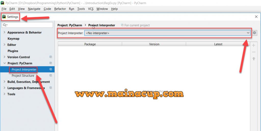 ตั้งค่า Python Interpreter ใน Pycharm